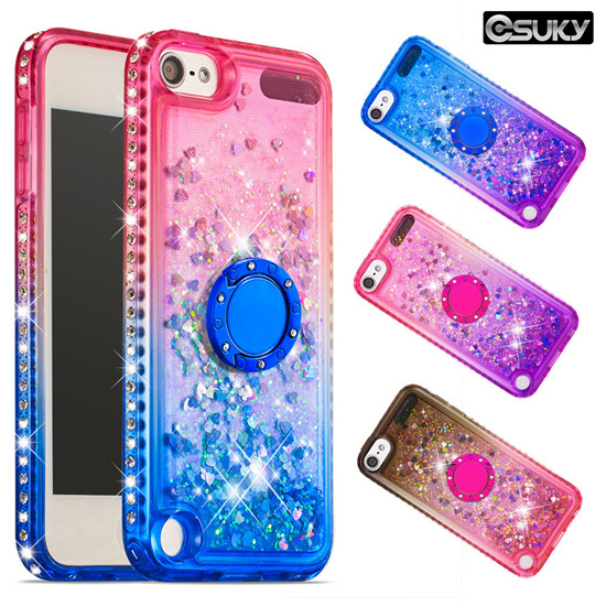 Gradient fashion quicksand liquid shiny silicone diamond with ring buckle phone case for iPhone xs max xr xs Samsung A60 A20e M40 S10 A9 LG K40 LG Stylo5 Moto G6 E5 Google Pixel 3a XL Huawei P Smart P30 Mate 20
