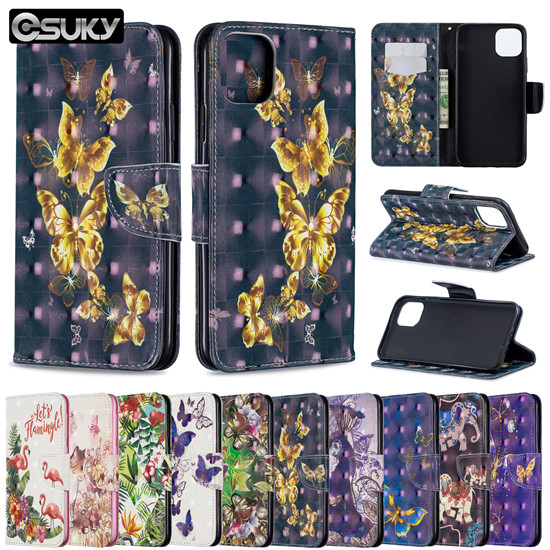 Wallet Case for iPhone xs max xr x Samsung A10e M30 S10 J4 Note 10 LG Stylo 5 Nokia 2.2 3.2 Xiaomi Poco F1 Redmi 7A K20 Sony Xperia 10 Huawei Y5 P20Lite Nova5i Case PU Leather Flip Cover 3D Floral Flower Cute Animal Coque Case