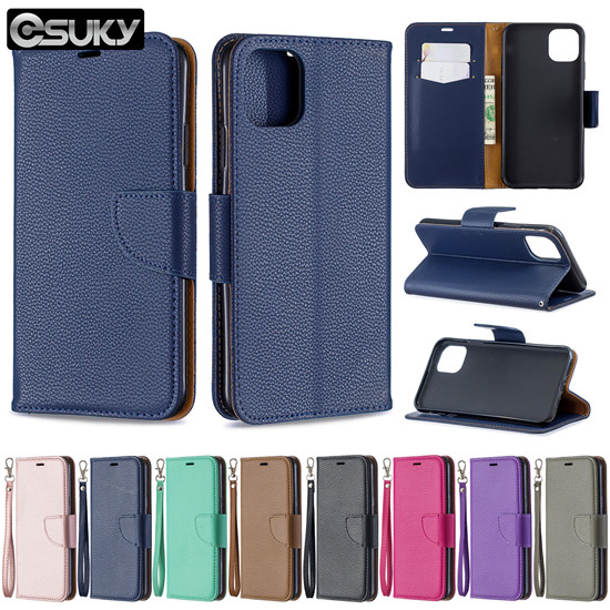 Leather flip cover for iPhone xs max Samsung M30 A70 S10 J6 Note10 Nokia 2.2 3.2 Xiaomi 7A K20 Huawei P Smart Z Y5 Nova5i Sony Xperia 10 LG K40 Q60 PU leather case cover pure dark blue rose gold brown green purple rose red black gray bracket phone case