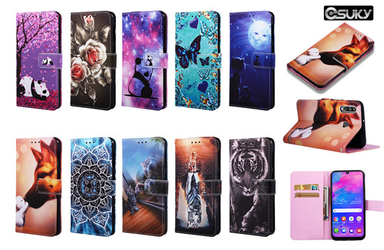 Wallet Case for iPhone xs max xr Samsung M30 A70 A40 A7 S10 S9 J6 J4 Huawei P Smart Y6 Honor 8A Mate 20 Lite LG K8 Stylo 4 Case PU Leather Flip Cover With 3D Cute Floral Flower Animal Pattern Case Cards Pockets Kickstands Belt Clip Case