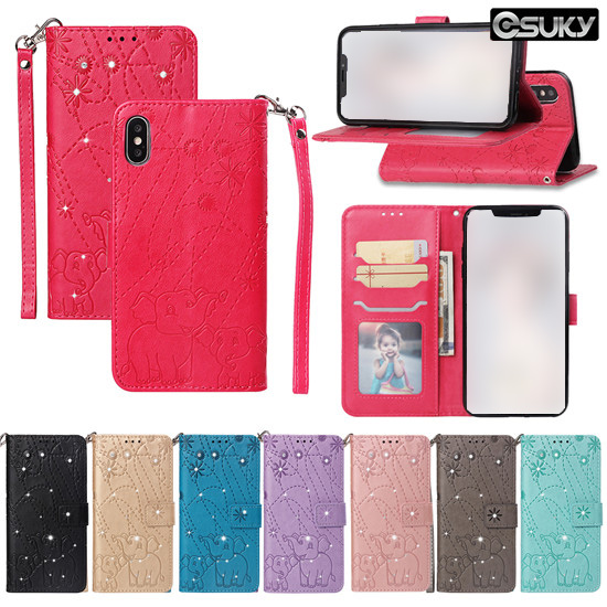 eSuky Flip Case for iPhone xs max xr Samsung M20 S10 S9 A70 A9 J7 J6 Note 9 Google Pixel 3 Moto G6 G7 LG G7 K8 Xiaomi PocoF1 Redmi 5 6 Huawei P Smart P30 Y6 Y5 Honor Enjoy Mate PU Leather Holster Wallet Cover Cat and tiger Pattern With 3 Cards Pockets